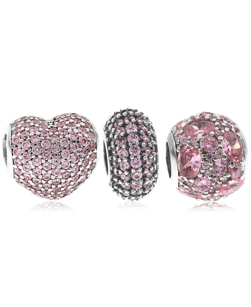 3-Pc. Set Pavé Bead Charms in Sterling Silver (4 colors) - Rhona Sutton Jewellery