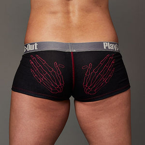 Zoe Bean Skeleton Hands Low Rise Boxer Brief - Black