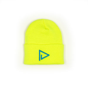 Cozy Play Out Beanie in Neon Yellow & Royal Blue