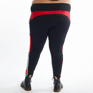 Flat Front Leggings - Black with Red & Lilo Print