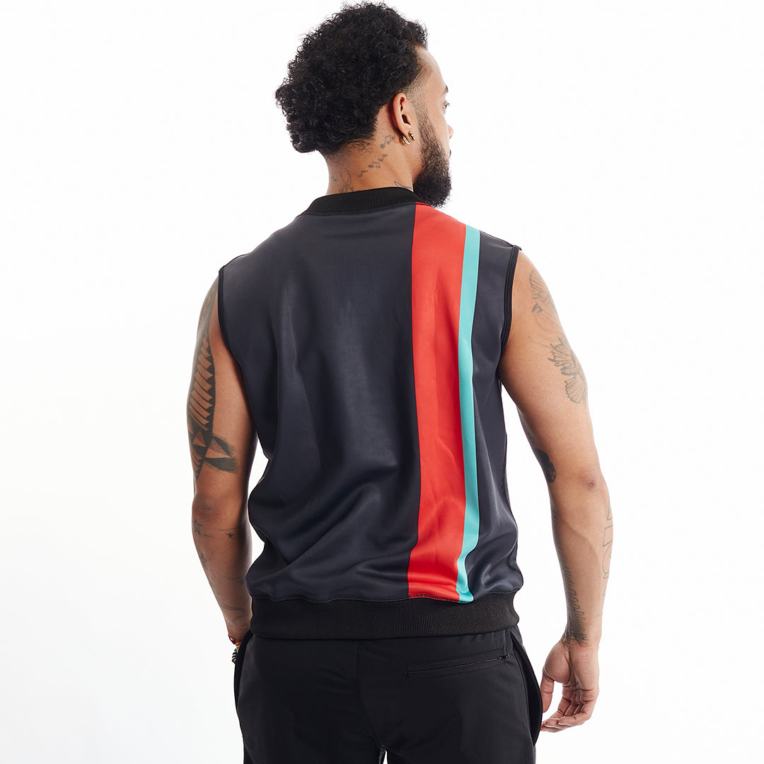 Black stripe reversible vest red green Unisex XS-5X