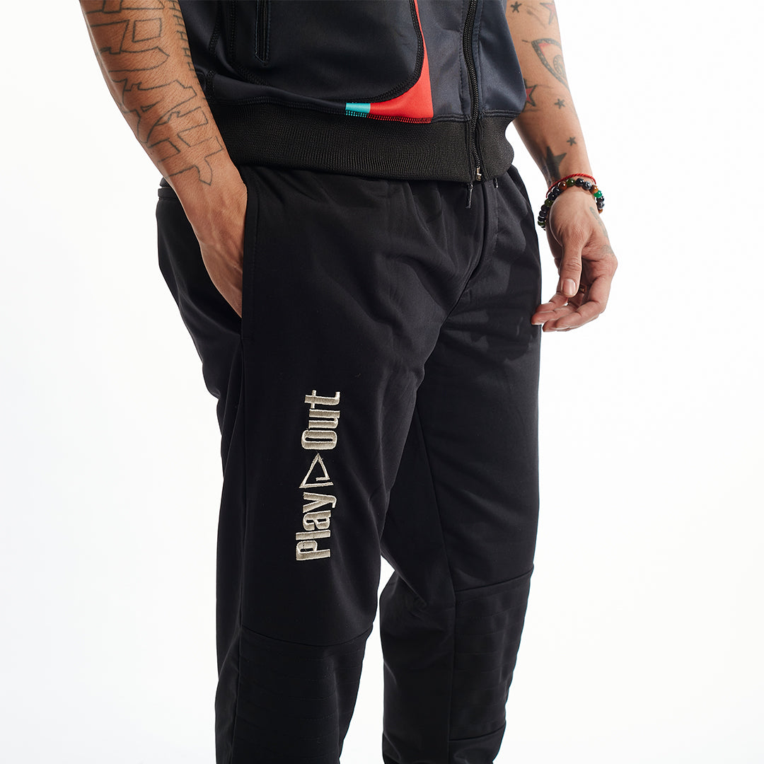 Moto Sweatpants XS-5X Unisex Black Silver Logo Play Out Apparel