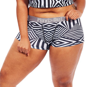 Play Out Apparel Boxer Brief underwear in Mazie Print Black and white front S-5X