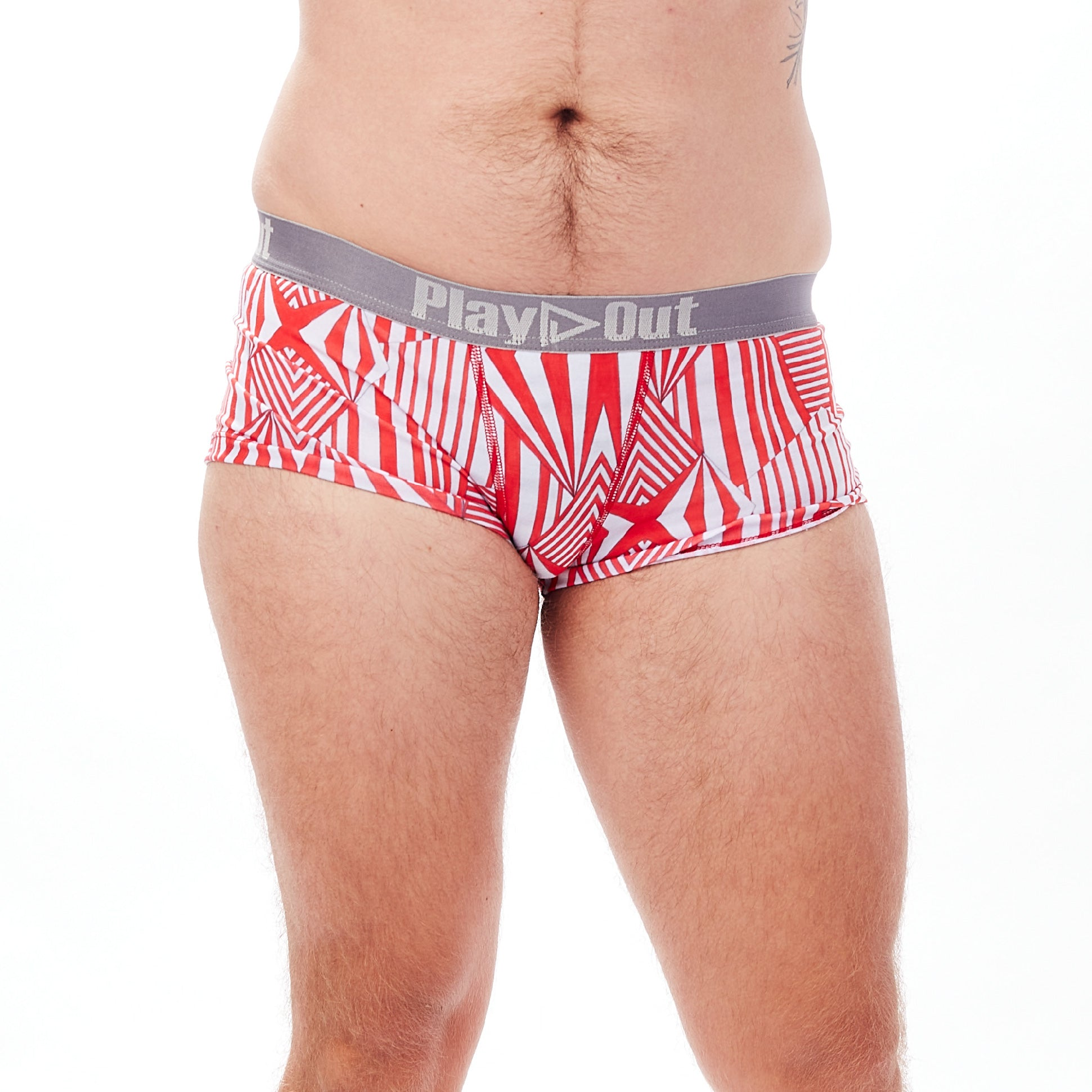 Play Out Apparel Boxer Brief in Mazie red and white print front S-5X