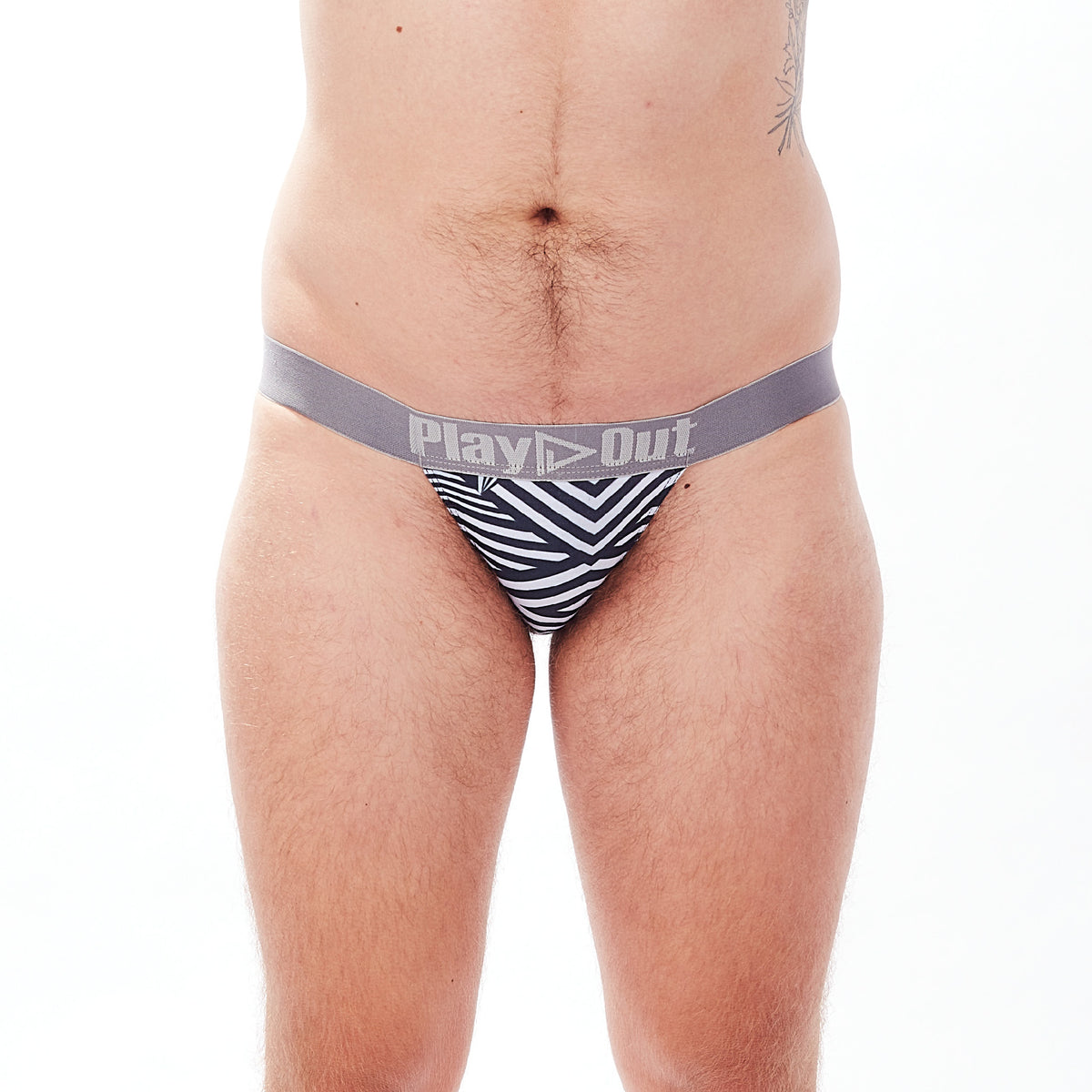 Play Out Apparel thong underwear in Mazie black and white print front S-5X