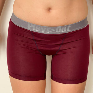 Burgundy & Blue MIDI Boxer Brief - SAMPLE SIZING