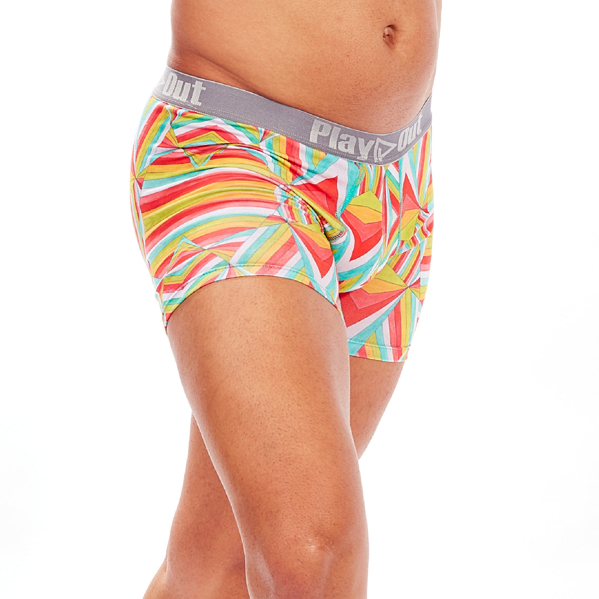 Play Out Apparel gender equal Midi Trunk underwear in Mazie Multi color print S-5X front
