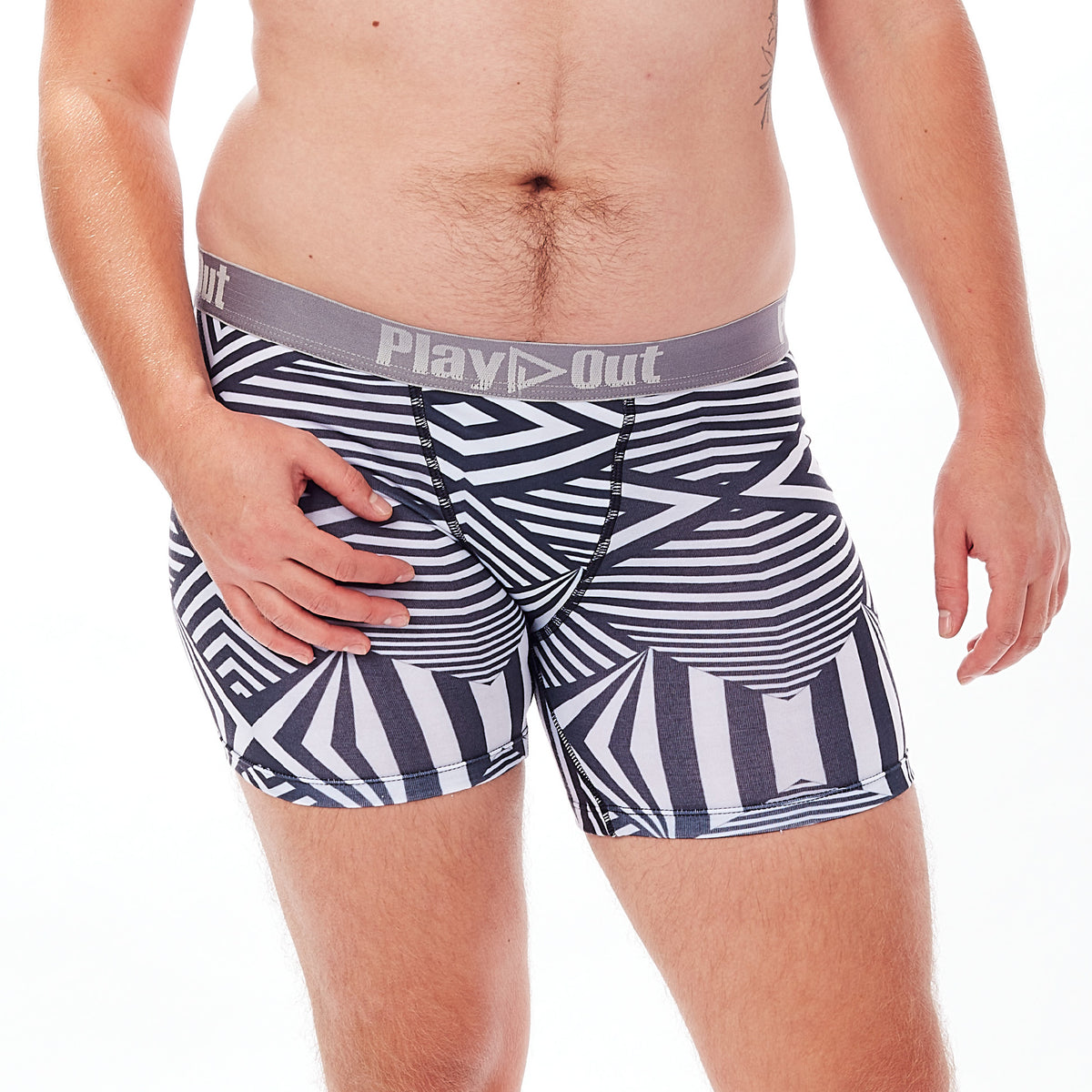 Play Out Apparel Midi Boxer Brief underwear in Mazie black and white print S-5X front