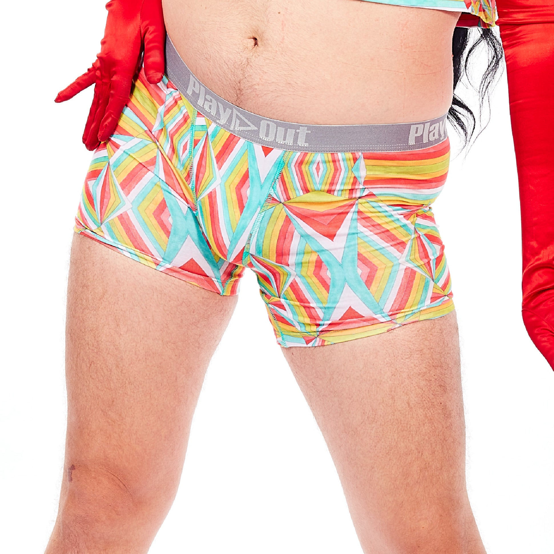 Play Out Apparel Midi Boxer Brief Underwear in Mazie multi color print S-5X front