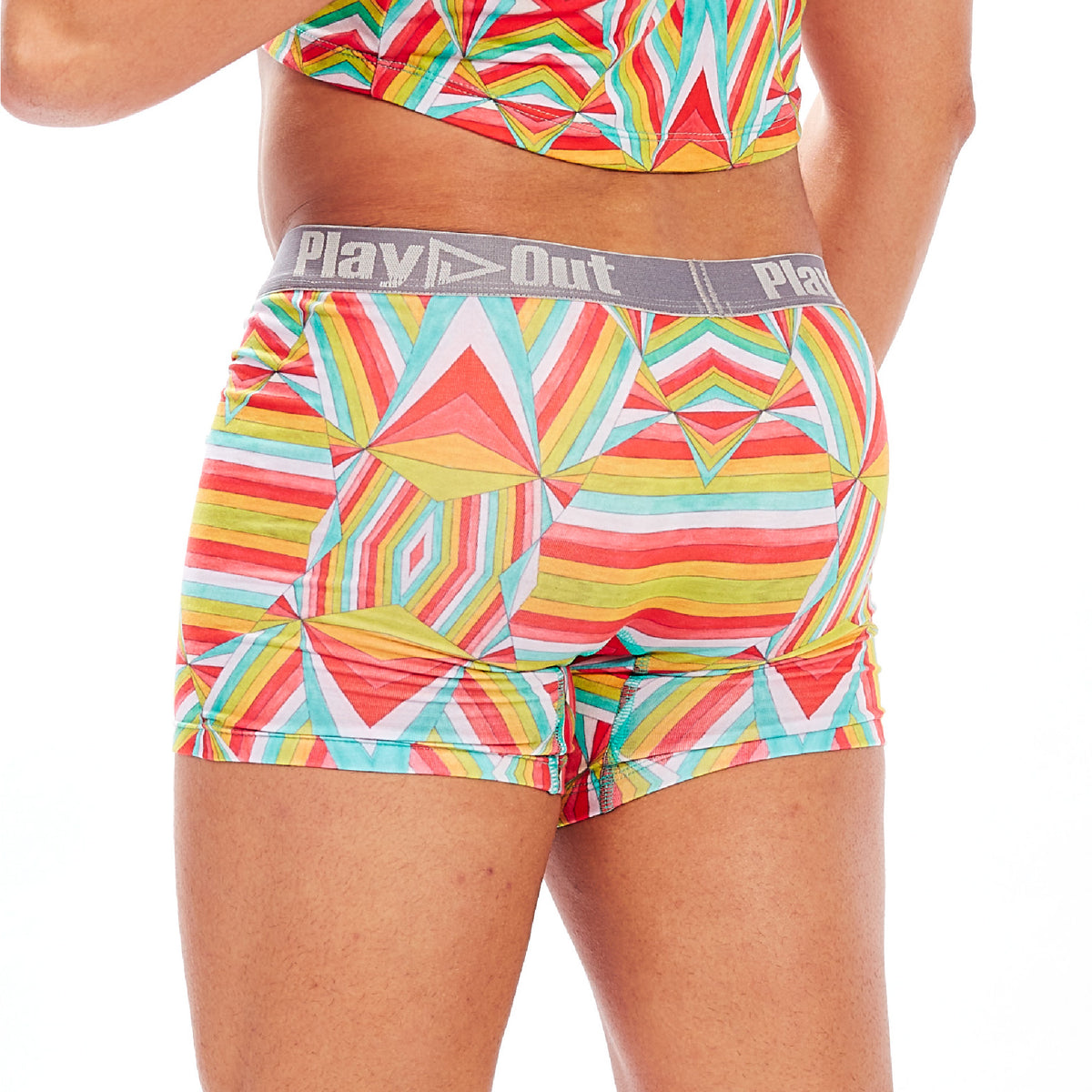 Play Out Apparel gender equal Midi Trunk underwear in Mazie multi color print S-5X back