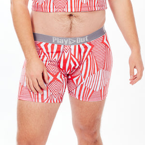 Play Out Apparel gender equal Midi Trunk underwear in Mazie red and white print S-5X front