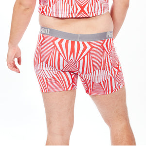 Play Out Apparel gender equal Midi Trunk underwear in Mazie red and white print S-5X back