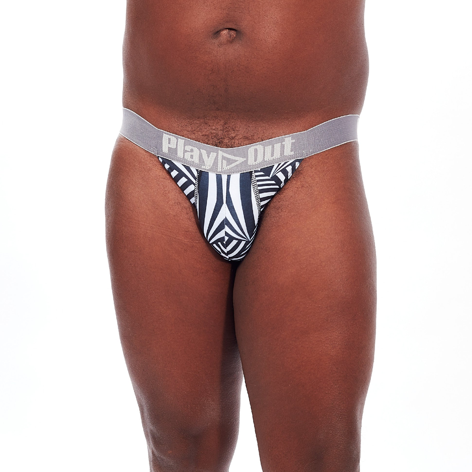 Play Out Apparel Pouch Thong in Mazie Black and white print front