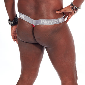Play Out Apparel pouch thong underwear in red and white Mazie print S-5X back