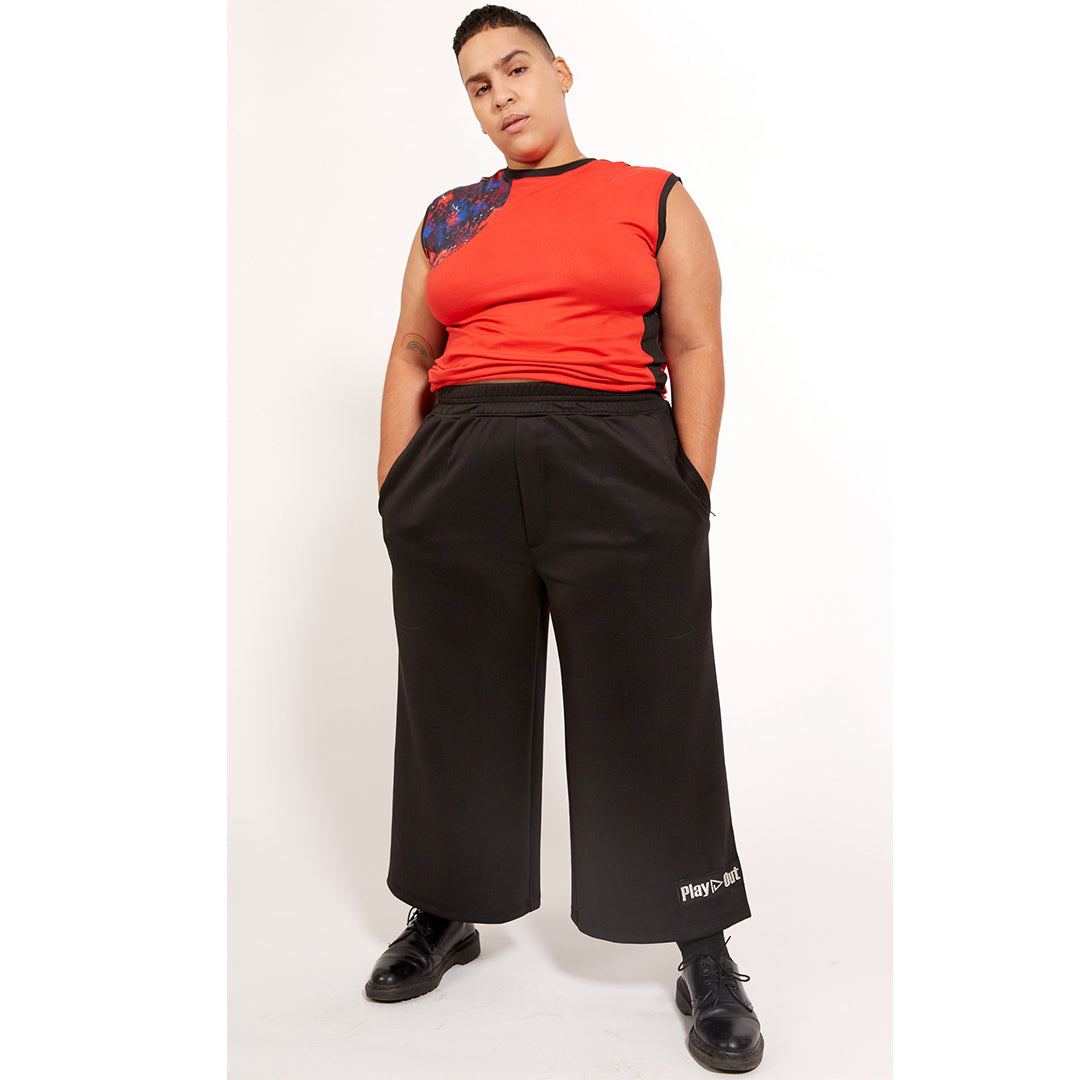 Play Out Apparel Reed Pants Black Cropped XS-5X Front Unisex Gender Equal