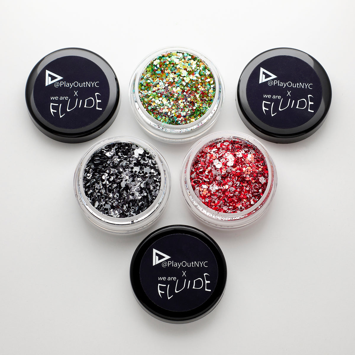 Play Out Apparel X Fluide Limited Edition Body Glitter Trio, Flame, Circus, Nightfall