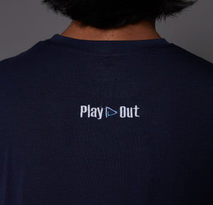 Play Out Apparel Navy Blue Muscle T Shirt Back XS-5X
