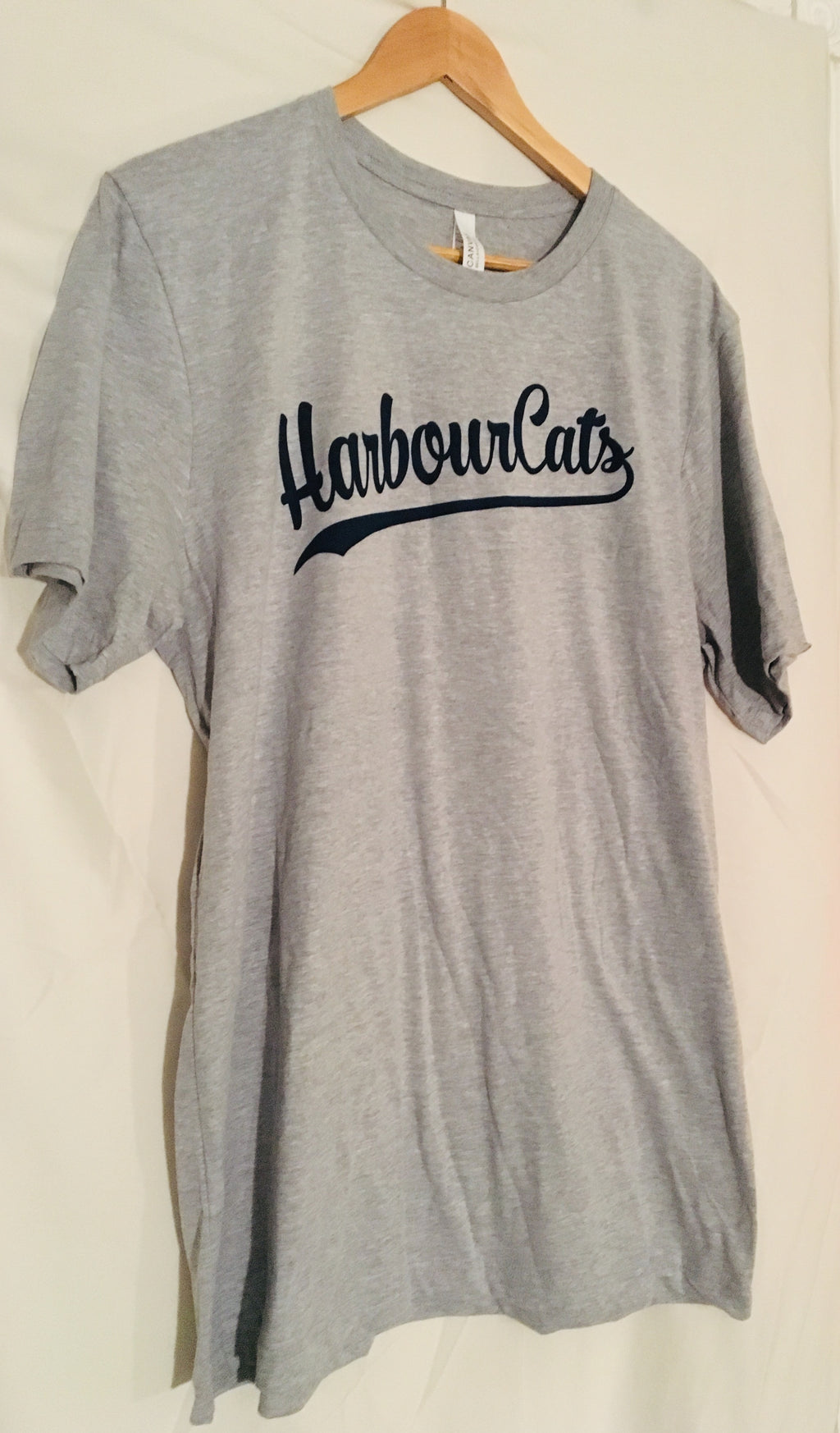 HarbourCats Script T Shirt Gray / Navy