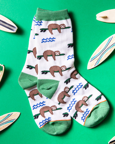 Surfs Up Sloth Youth Sock