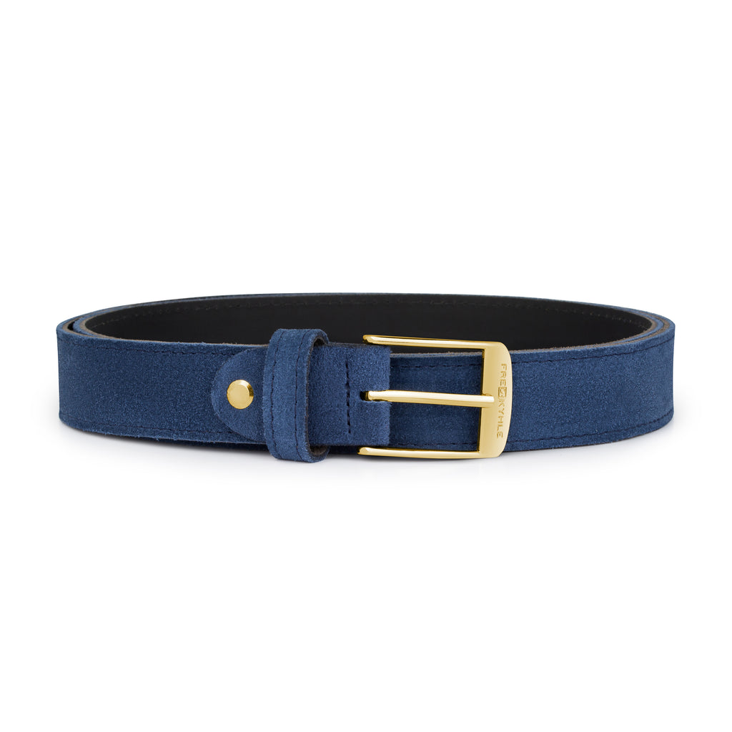 Blue Suede with Golden Buckle