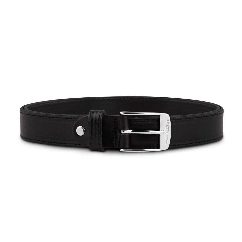 Black Stitched Leather with Silver Buckle