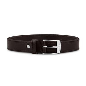 Dark Brown Stitched Leather with Silver Buckle