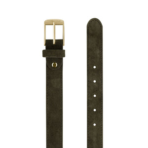 Dark Green Suede Golden Buckle