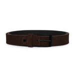Dark Brown Suede with Black Buckle