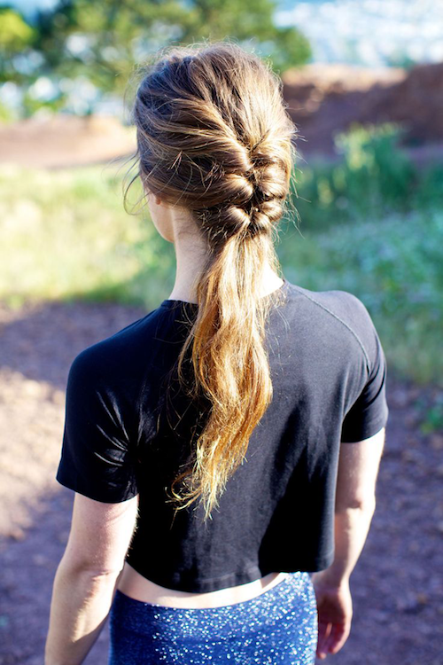 Workout hairstyle: triple ponytail