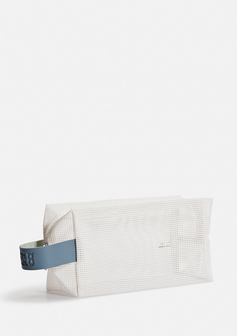 white mesh bag with blue handle