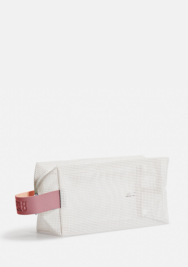 Verb White Mesh Bag with Pink Handle