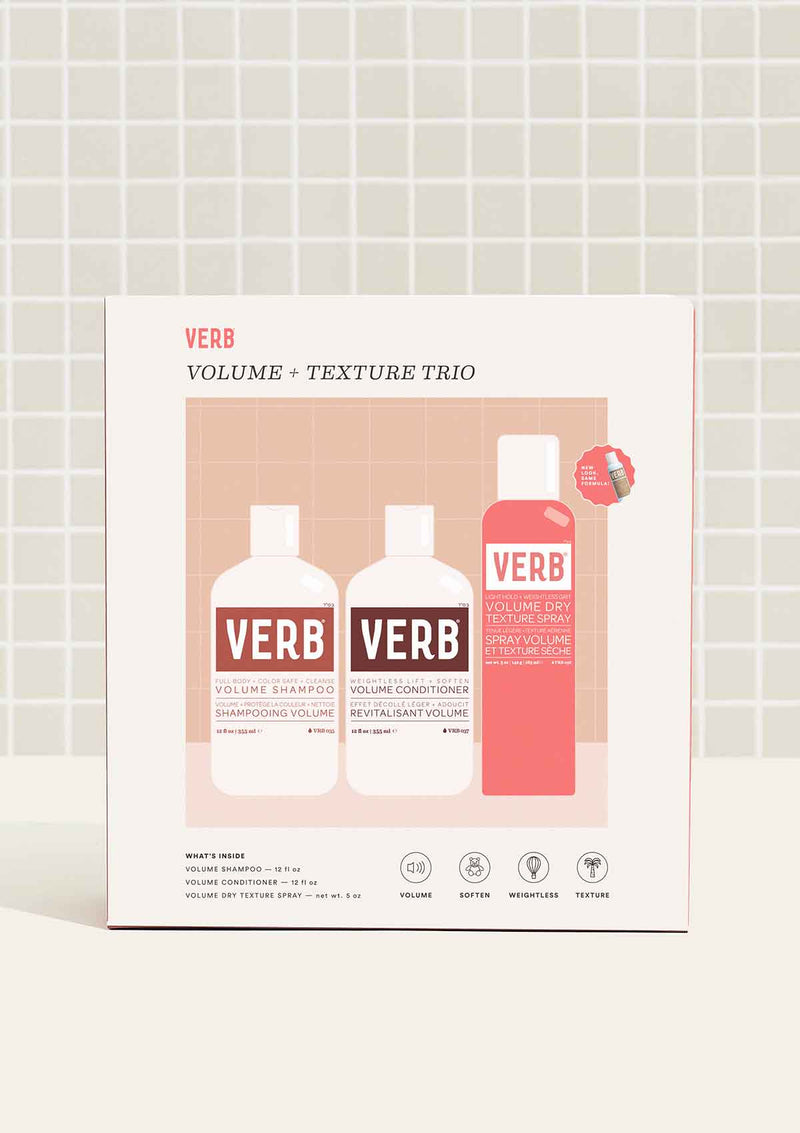 Verb volume + texture trio on tile background