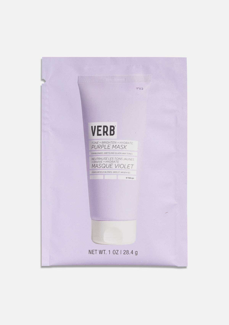 Verb Purple Hair Mask packette on grey background