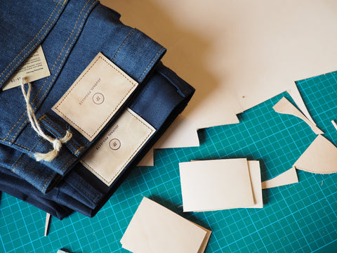 Journal Projects leather patch jeans