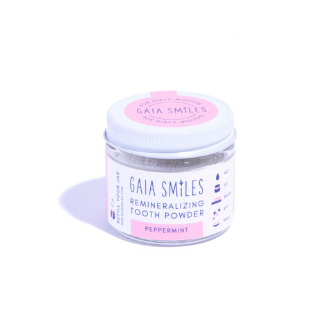 gaia smiles peppermint tooth powder.