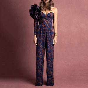 37d96c5794bf Sexy Single Shoulder Printing Long Sleeve Trousers