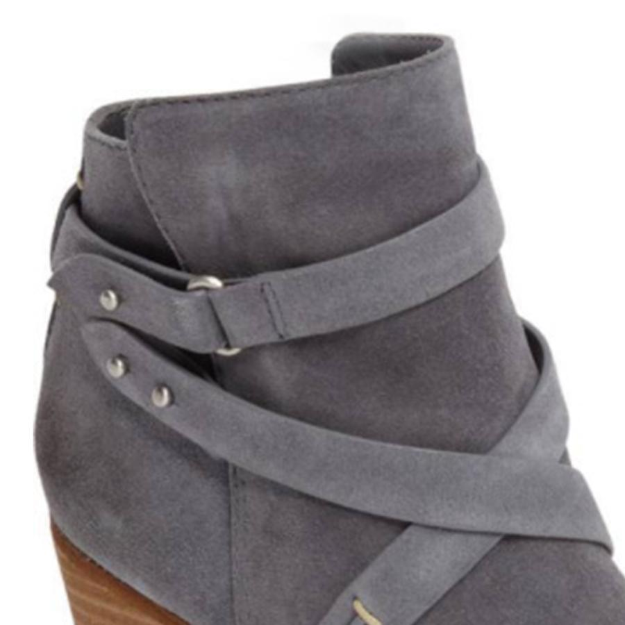 49bb24d03c482 ... Load image into Gallery viewer, Plain Chunky High Heeled Velvet Round  Toe Date Outdoor Short ...