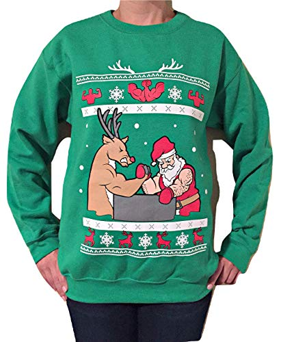 Arm Wrestling Santa - Ugly Christmas Sweater