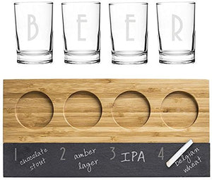 Bamboo And Slate Beer Tasting Flight, Set of Four Glasses
