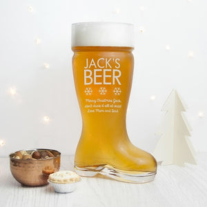 Personalised Large Santa's Boot Beer Glass