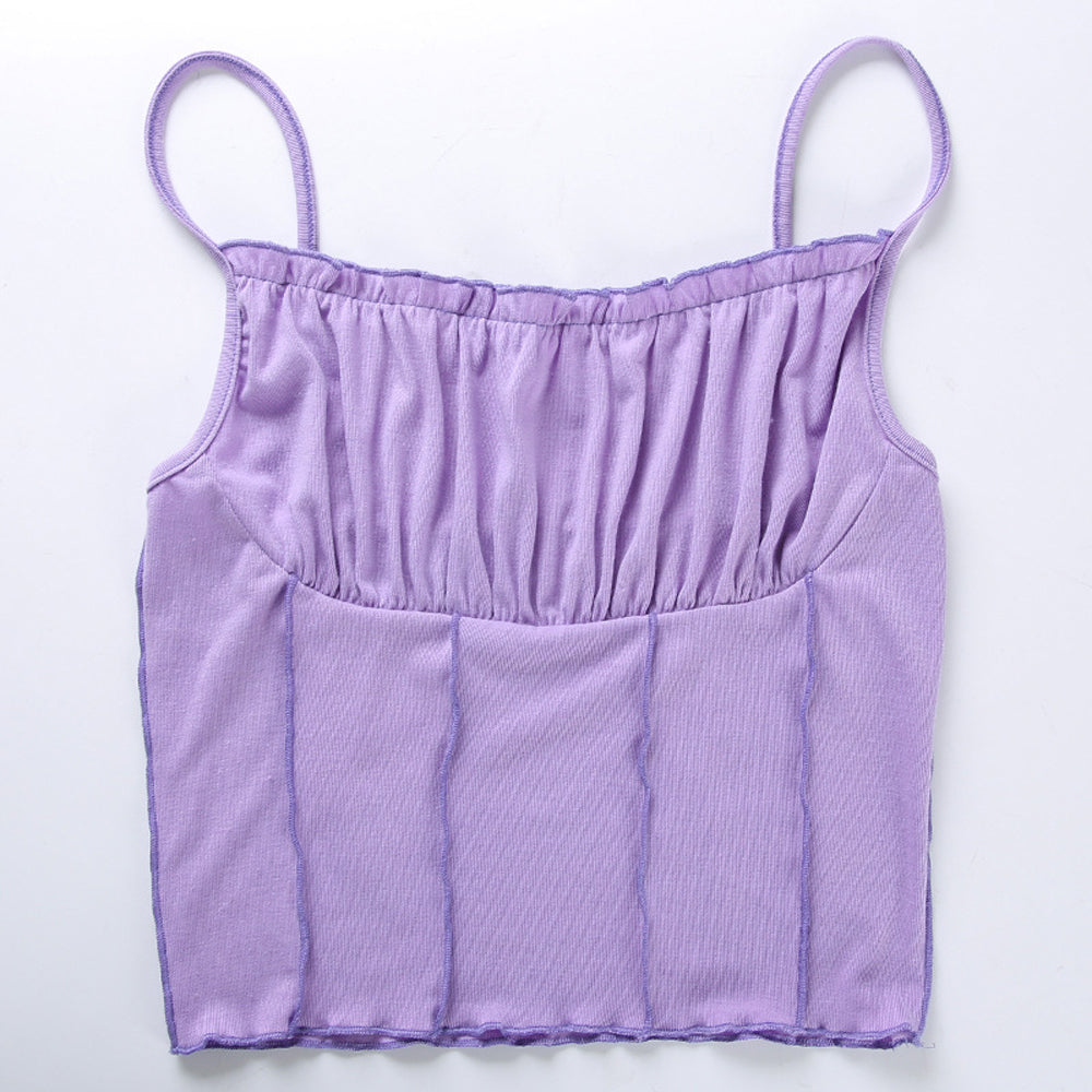 Purple Frill Crop Top