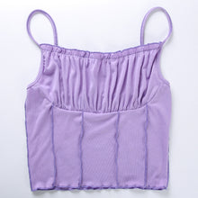 Load image into Gallery viewer, Purple Frill Crop Top