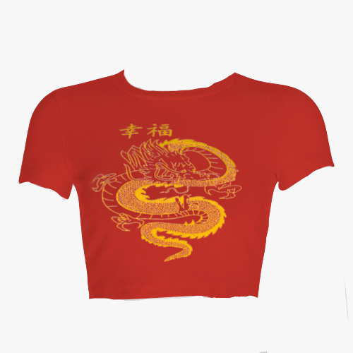 Dragon Print Crop Tee