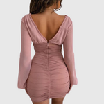 V Neck Balloon Sleeve Mini Dress