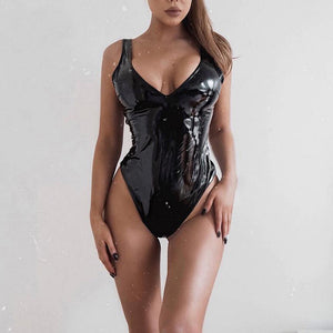 All Black Leather Bodysuit
