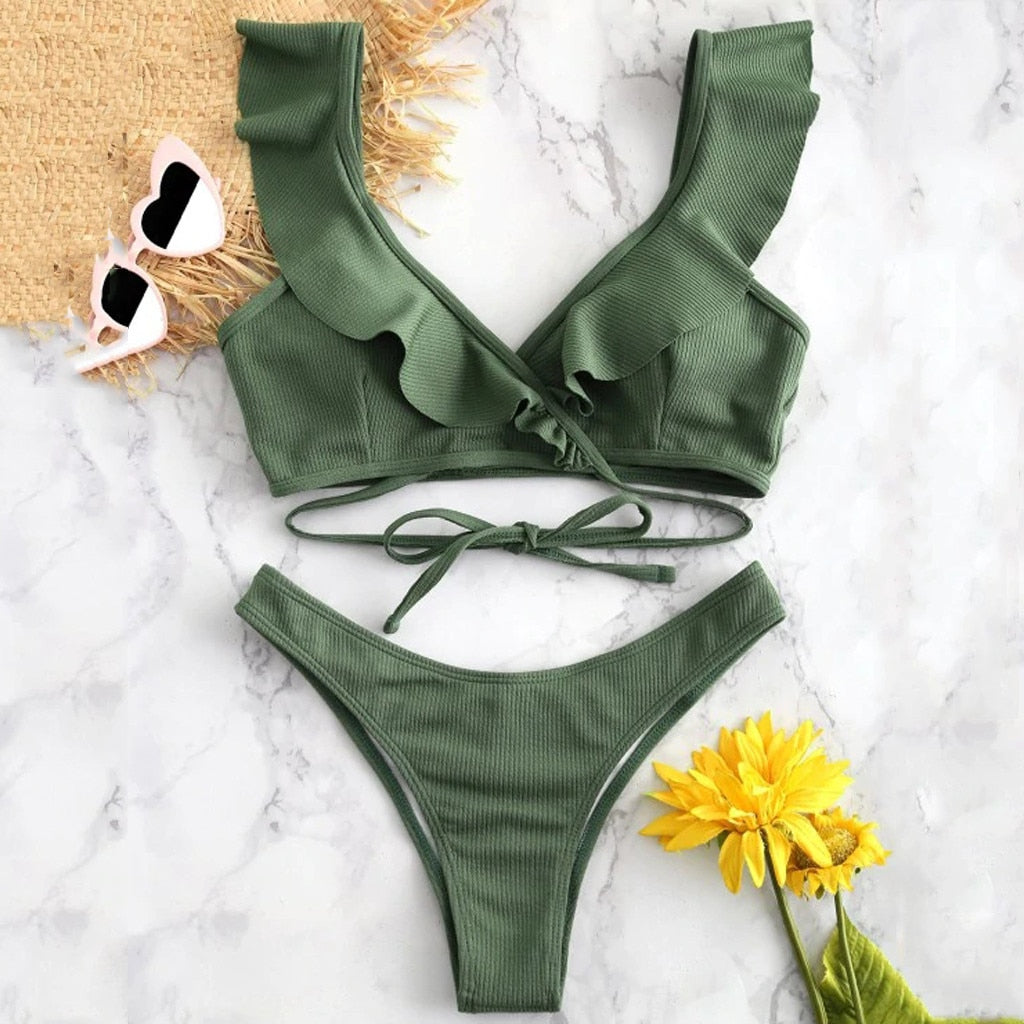Ruffled High Waist Bikini