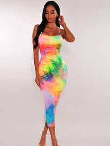 Rainbow Dye Bodycon Dress