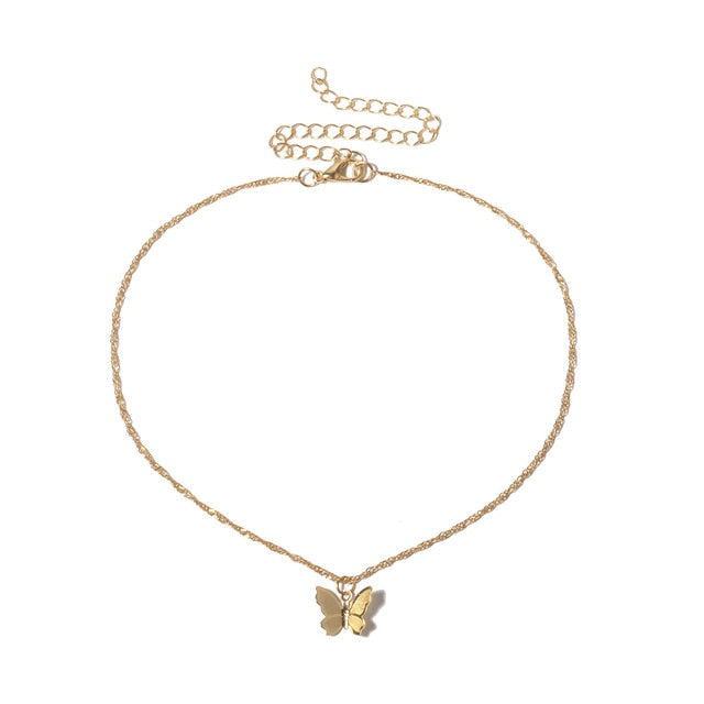 Gold & Silver Butterfly Necklace