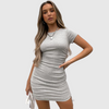 Ruched Drawstring Bodycon Dress