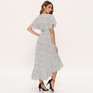 Long Sleeve Black & White Dotted Dress